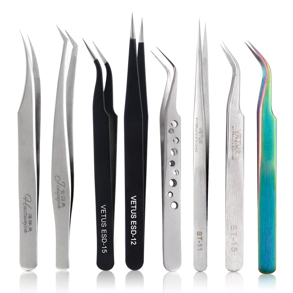 VETUS Eyelash Extension Tweezers Volume Lashes Stainless Steel Tweezer Non-magnetic Eyelashes Tools Professional Makeup Tool(China)