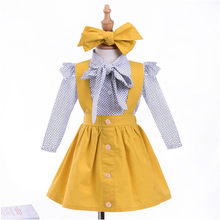 2018 New Summer Cute Toddler Infant Baby Girls Yellow Dot Print Tops Sleeveless T Shirt Strap Skirt Outfits Girls Clothes Set M5(China)