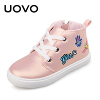 UOVO 2017 Kids Casual PU Shoes Lace Up Closure Side Zip Design Mid Cut With Cartoon