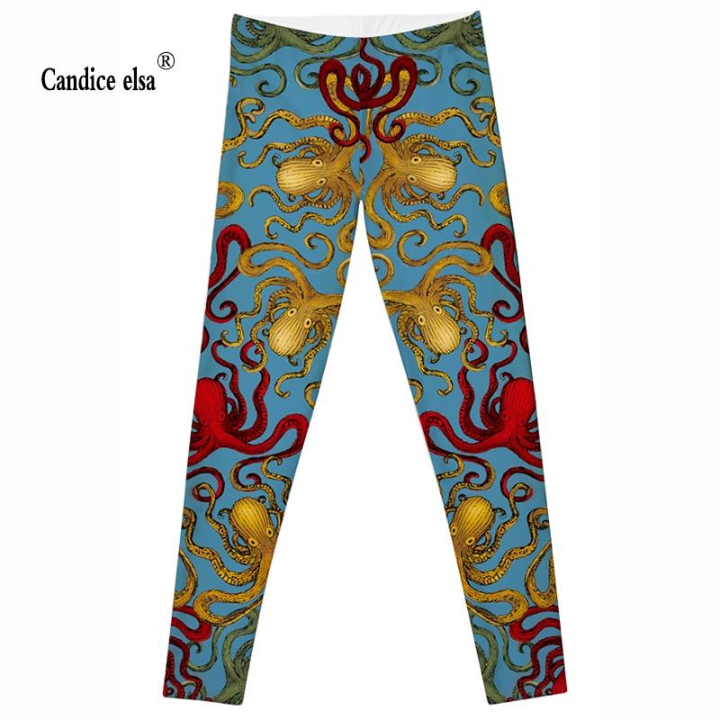 cf2922f4ffe82 CANDICE ELSA leggings femmes entraînement femelle pantalon élastique  fitness legging poulpe imprimé pantalon plus la taille drop shipping