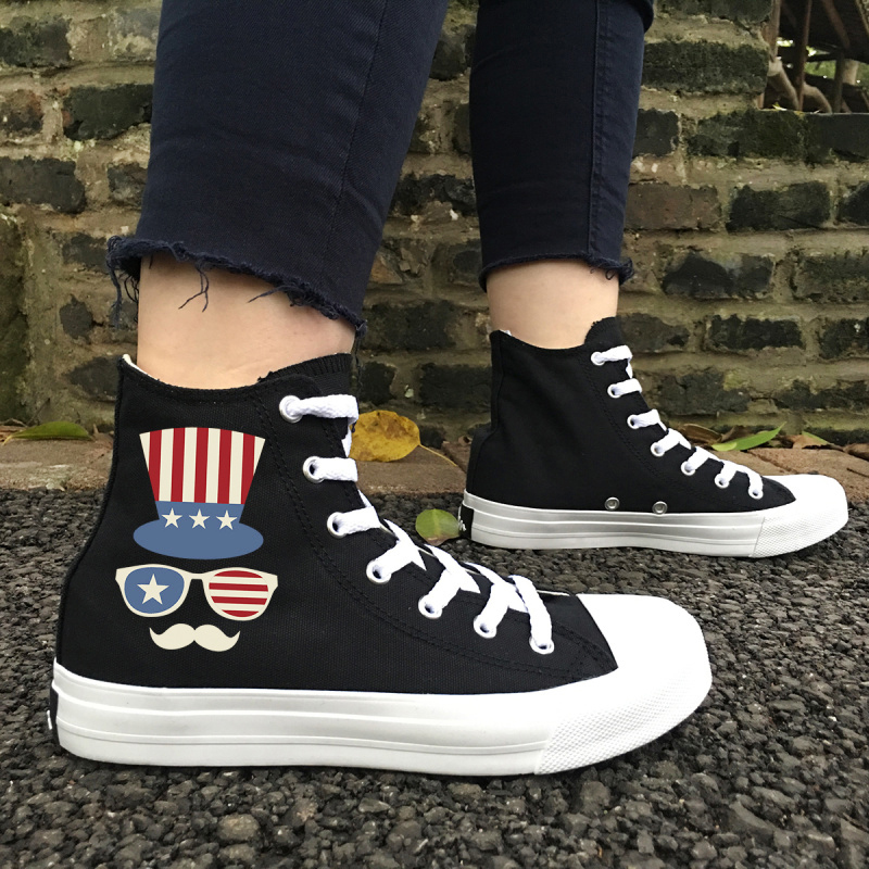 Wen classique noir chaussures étoiles rayures tongs chapeau lunettes de soleil toile baskets femmes haut hommes chaussures vulcanisées Plimsolls - 2