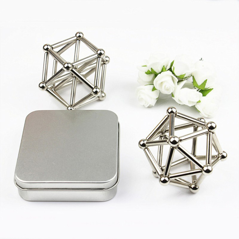 27PCS  Steel Balls With 36PCS  Magnet Bars Neodymium Puzzle Magic Cube Magnetic Balls Magnet Toy for Geometric Model – Silver