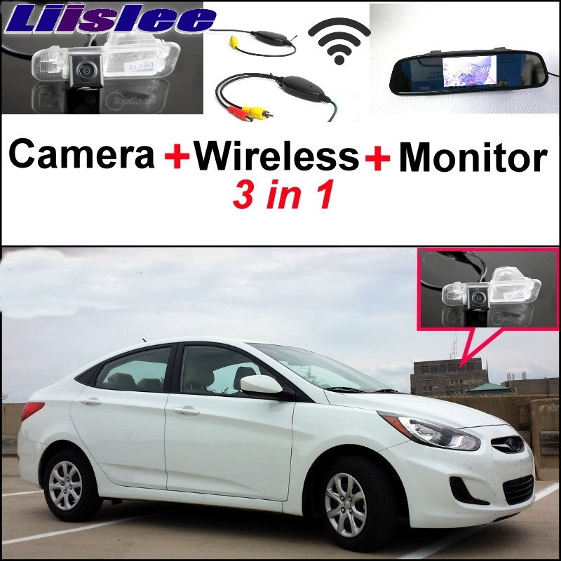 Liislee 3 in1 Special Camera + Wireless Receiver + Mirror Monitor DIY Back Up Parking System For Hyundai Accent RB Sedan