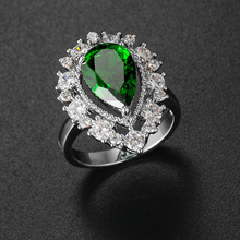 Silikolove Fashion Water Drop Shape Green Zircon Ring Personalized Female Jewelry Decoration Anillo Anneau