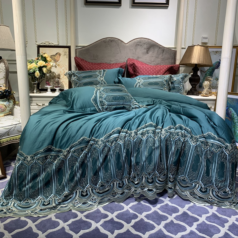 Pillowcases Duvet-Cover Egyptian Cotton Bedding-Set Bed-Sheet Lace Green Luxury New 60S