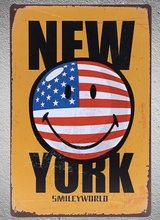 1 pc Smiley Face New York Happiness USA Tin Plate Sign plaques Man cave vintage Shop store metal poster