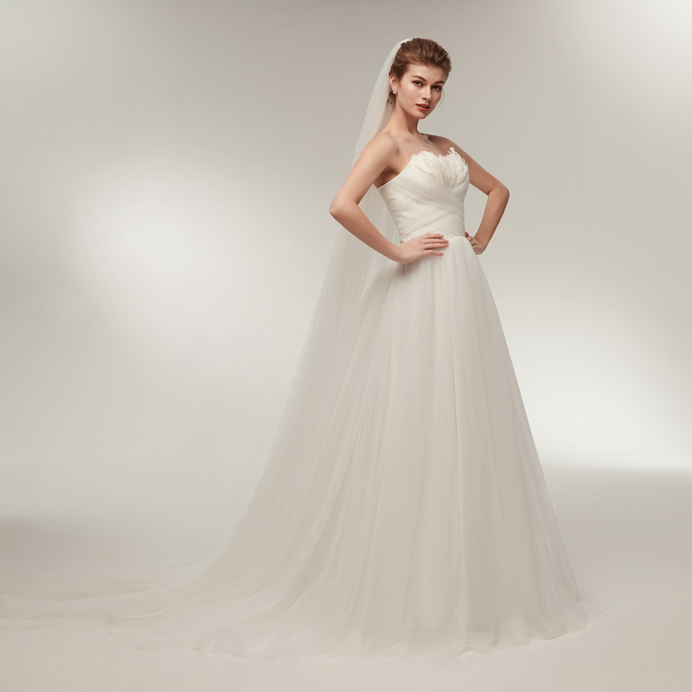 Wedding Gown With Feathers: Aliexpress.com : Buy Elegant White Tulle Wedding Dresses