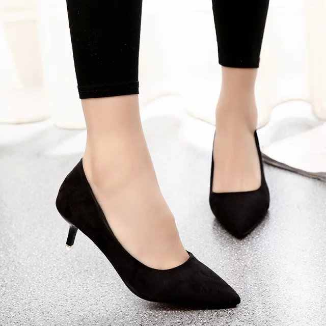 Big Size 35-42 Spring Autumn Women dress Shoes Basic Pumps Pointed Toe Med Heeled Shoes For Woman Shoes zapatos mujer 2985
