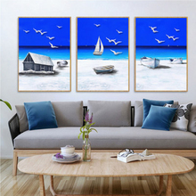 Nordic Modern Watercolor Stereoscopic Blue Sea Beach Seagull Sailboat Poster Canvas Painting For Living Room Home Decor No Frame