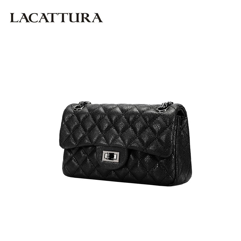 LACATTURA Women Leather Shoulder Bag Luxury Retro Design Womens Messenger Bag High Quality Leather Fashion Ladies Crossbody Bags-in Shoulder Bags from Luggage & Bags    1