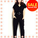 Women-Lady-Fashion-Solid-V-Neck-Short-Sleeve-Long-pants-Trousers-Clubwear-S-M-L-XL