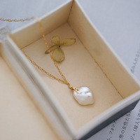 Classic Jewelry 10mm Baroque Pearl Necklace Female Creative Model Street Popular Wild Gold Letter Decoration 14k Gold Necklace