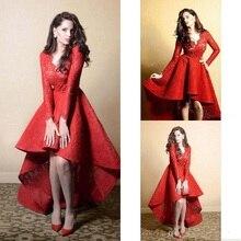 Charming Hot Red Hallo-Lo Abendkleid Rüschen Sexy V-ausschnitt Spitze-partei-kleid Nach Maß Saudi-arabien Langen ärmeln Abendkleider kleider