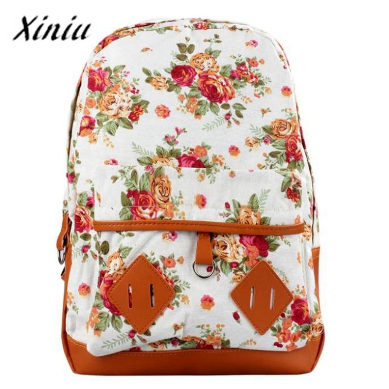 Xiniu Backpack Floral Print Students Daypacks Oversize Canvas Book Satchel Shoulder Bag School Backpack Sac A Dos