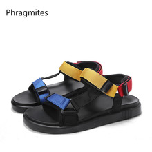 Phragmites Fashion Candy Colour Sandals Comfortable Beach Couple Sandal Slippers Casual Hook&loop Mens Summer Shoes 2019