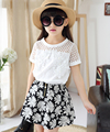 4-15y Fashion Children girls Clothing sets teenage summer tracksuit for girl clothes sets 2pc brand Lace T shirt +Flower Skirts