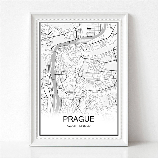 World city map prague czech republic print poster abstract coated paper bar cafe pub living room