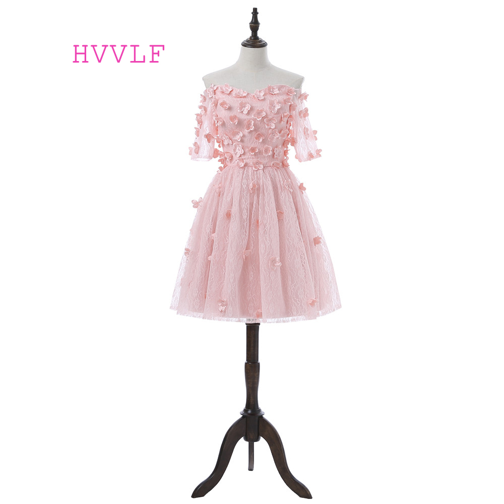 Pink 2018 Homecoming Dresses A-line Sweetheart Short Sleeves Short Mini Lace Flowers Beaded Elegant Cocktail Dresses