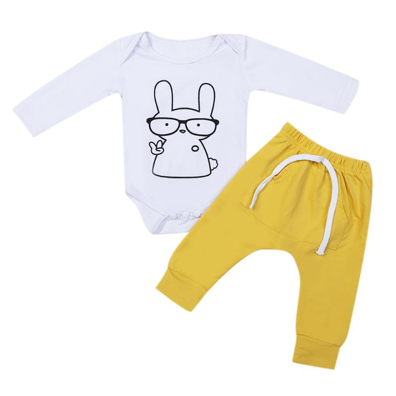 2pcs Kids Baby Girls Boys Clothing Set Long Sleeve Cartoon Rabbit Print Romper +Yellow Cotton Pants Outfits 2pcs Set
