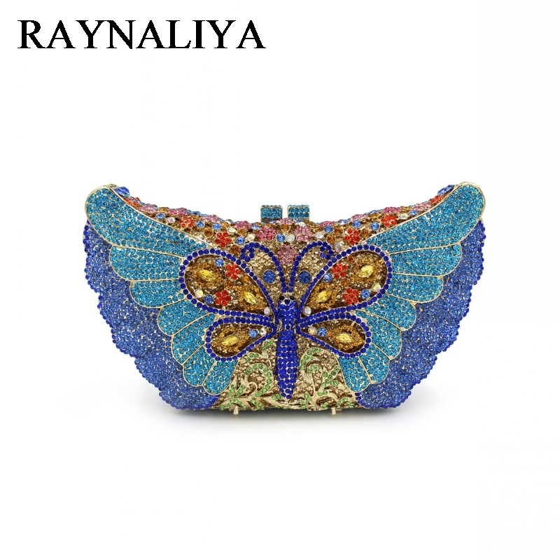 Women Butterfly Crystal Clutch Bag Brand Design Wedding Party Prom Purse Ladies Hard Case Evening Clutches Handbag ZH-A0208 women luxury rhinestone clutch evening handbag ladies crystal wedding purses dinner party bag bird flower purse zh a0296