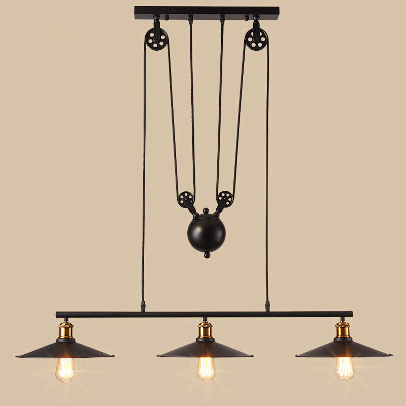 Black Retro Iron Pulley Pendant Lights Industrial Pulley Rope Antique Lamp Industrial Iron pendant lamps Restaurant Bar lamp restaurant bar cafe pendant lights retro hone lighting lamp industrial wind black cage loft iron lanterns pendant lamps za10