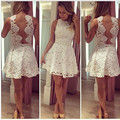 2015 Brand Summer White Lace Vestidos Femininos Plus Size Casual Mini Women Lace Dress Sleeveless Hollow Out Vestido De Festa