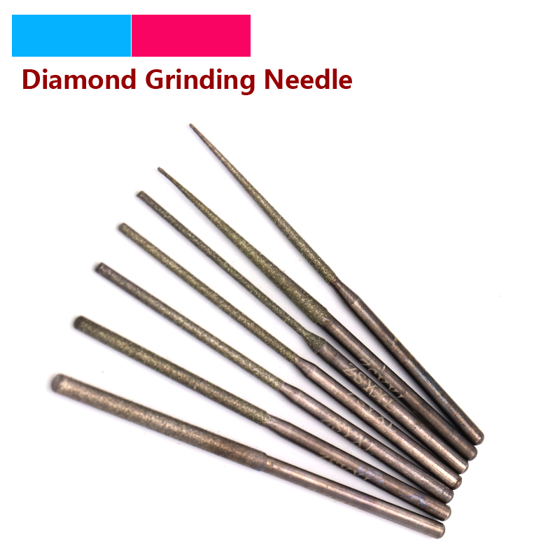 1/5pcs 2.35mm Shank Diamond Grinding Head Burrs Punch Needle Drilling Bits For Metal Stone Jade Carving Dremel Rotary Tools