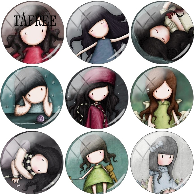 Findings Cabochon Hand-Drawn Photo Glass Round Flat-Back-Making Cartoon Girl TAFREE 5pcs