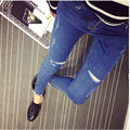 2017 Spring New Women Jeans Ripped Holes Straight Full Length Mid Waist Female Denim Pants Cotton Four Season Trousers MZ378