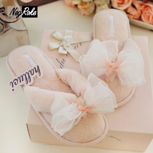 53e901730e7972 Online Shop HALLUCI Sweet butterfly women shoes home slippers fluffy indoor  flip flops coral fleece simple ladies summer house sandals