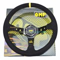 350mm OMP Steering Wheel Yellow Stitching Racing Car Steering Wheel Suede 90mm Dish