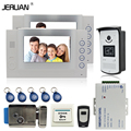 JERUAN 7 inch LCD video door phone access control system monitor video recording 2 monitors+1RFID Camera+ Electric Lock In Stock
