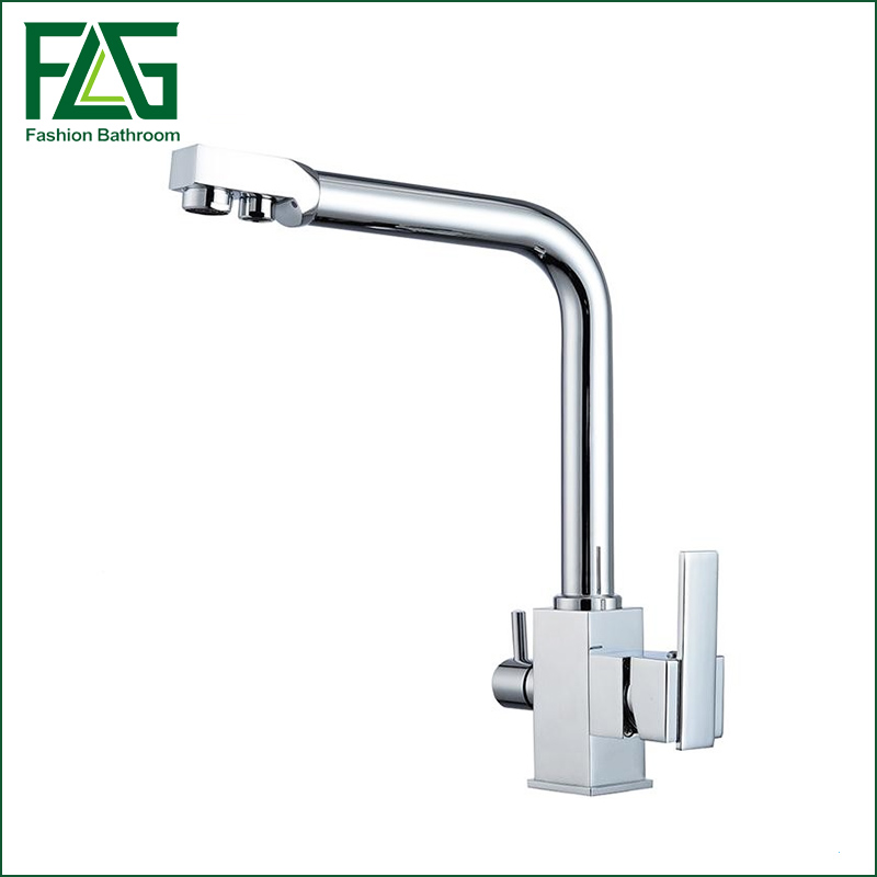 Kitchen Faucets Chrome Deck Mounted Mixer Tap 360 Degree Rotation with Water Purification Features Mixer Cold Hot Tap Crane newly arrived pull out kitchen faucet gold sink mixer tap 360 degree rotation torneira cozinha mixer taps kitchen tap