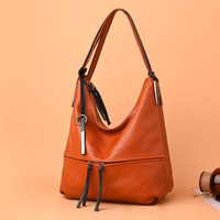 soft real leather bags women shoulder tote shopping bucket bag solid new zipper half moon fashion handbag travel office bag
