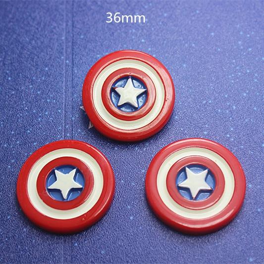 10pcs 36mm Avengers Captain America Shield Resin Cabochons Flatbacks For Girl Hair Bow Center Crafts DIY