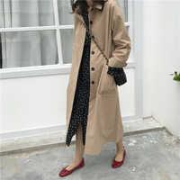 Femmes automne à manches longues Manteau Long Trench Manteau Femme poche cardigan chemise droite coupe-vent Manteau Femme Hiver pardessus