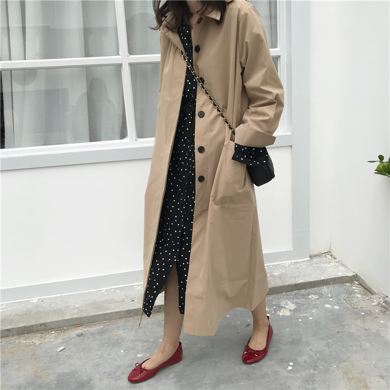 Women Autumn Long Sleeve cloak Long   Trench   Coat Female Pocket cardigan Straight Shirt Windbreaker Manteau Femme Hiver Overcoat