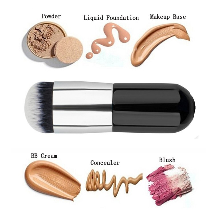 1pcs Black & Silver Foundation Brush Flat The Portable BB Cream Makeup Brushes Professional Kabuki Contour Brush Beauty Tools - intl