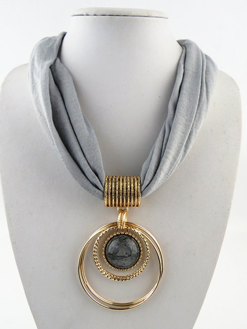 New Fashion Circular Alloy Pendant Collar Polyester Lady Jewelry Scarf Three-dimensional Scarf Necklace Free Shipping