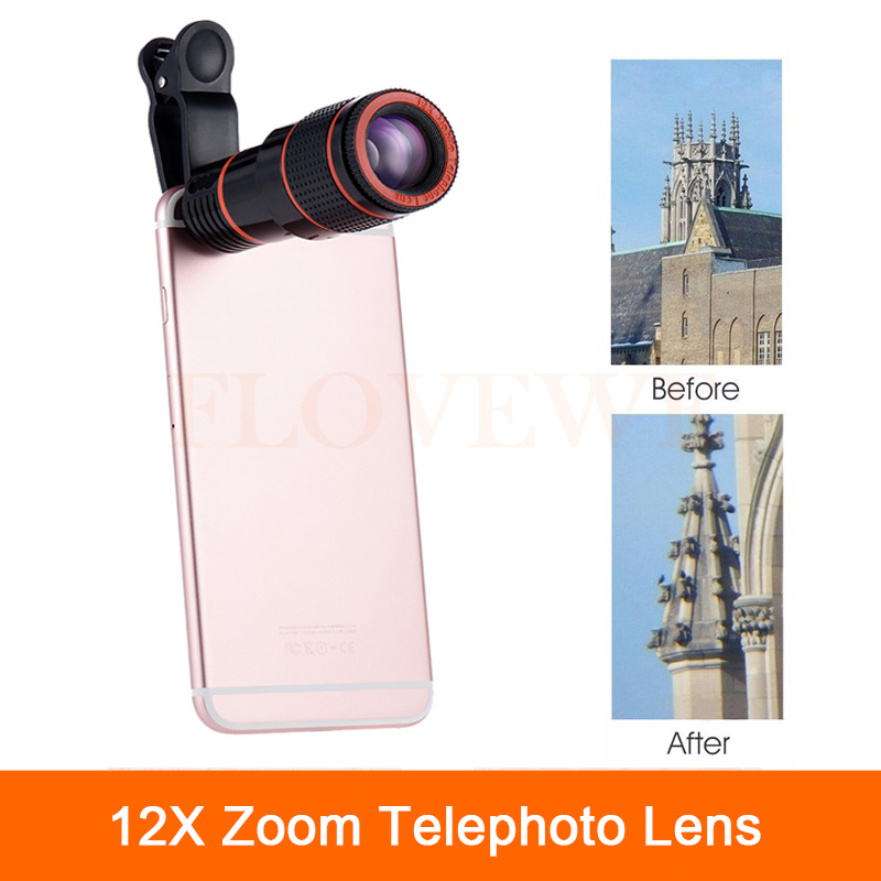 High Quality 12x Zoom Telephoto Lens For iPhone 6 6s 7 Plus 4 4s 5 5s 5c SE Telescope With Clips Mobile Phone Camera Lenses