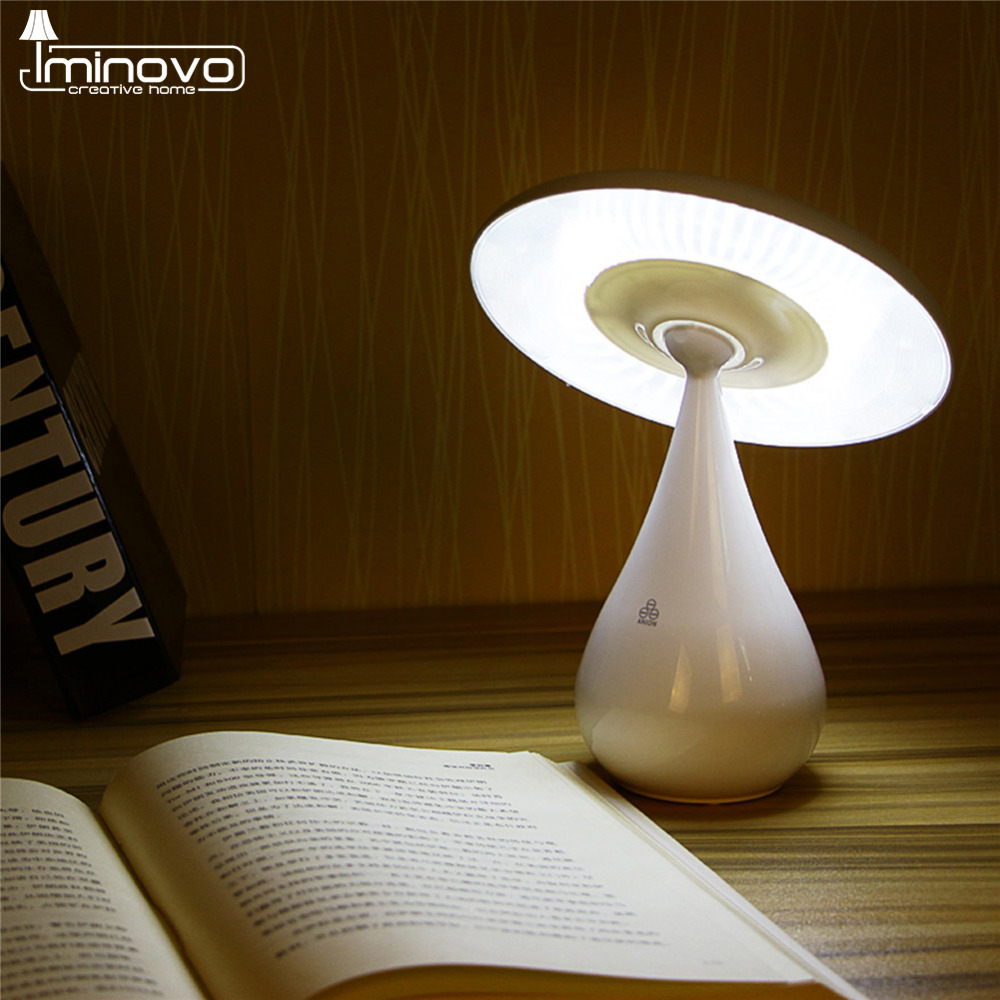 IMINOVO Novel Mushroom LED Night Light Desk Lamp Rechargeable Nightlights Reading Light Stepless Dimming Touch Sensor Desk Lamps novel birds led night light wall night desk lamp with sticker