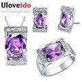 40% de descuento de novia sistemas de la joyería de plata plateado collar de la boda pendientes anillo púrpura/azul de cristal bisutería barata uloveido t094