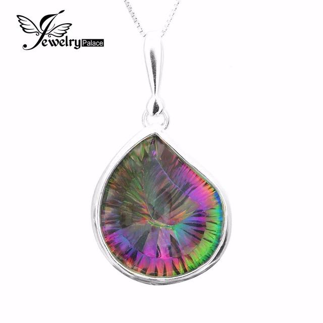 HUGE15ct Genuine envio Rainbow Fire Místico Topaz Gem Pingente Charme Pure 925 Sólido Prata Presente Da Moda de Luxo Da Marca Para As Mulheres