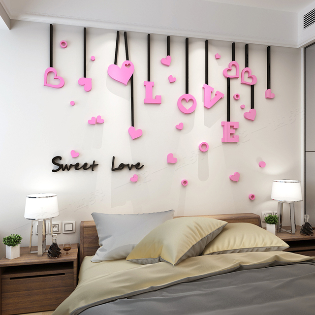 hot sale sweet love 3d acrylic wall sticker creative room background rh aliexpress com creative handmade room decoration ideas creative room decoration ideas