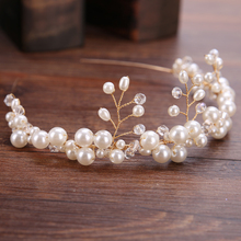 New Design Gold Trendy Pearl Wedding Tiara Hairwear Woman Hair Jewelry Handmade Crystal Hairband Headwear Bride Accessories Gift