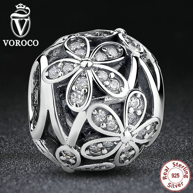 Gift Real Pure 925 Sterling Silver Sculptural Dazzling Daisy Meadow Clear CZ Flower Charm Fit Bracelet Pandora Original S031