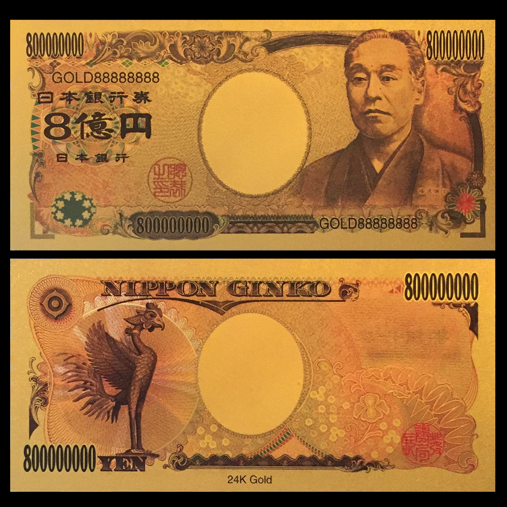 Colorful Gold Banknote 800 Million Yen Japan Paper Money Plated Colour Gold Paper Collection ...
