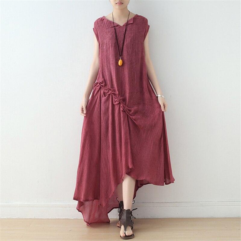 Vestido Irregular de mujer Johnature Color sólido Vintage doblado 2019 verano nuevo Vintage vestidos de algodón sin mangas para mujer-in Vestidos from Ropa de mujer    1