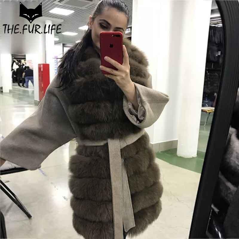 2018 Chaude beige Vestes Fourrure Grey Pour Wholeskin Grey Particulier Nature Couleur Chaud Surdimensionné Renard Col Vente En Laine De Manteaux dark Femme Sable 55qwRrU