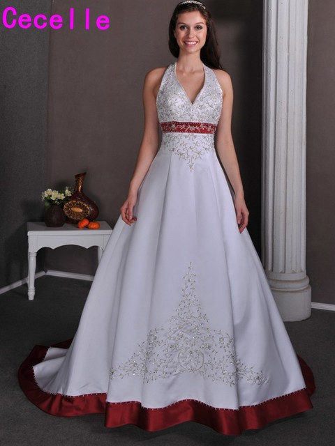 2017 Vintage A line White And Red Wedding Dresses Gowns Tow Tones ...